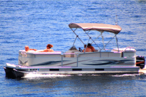 pontoon boat on lake